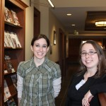 Lelia Heinbach, Circulation Coordinator and Crystal Johnson, Distance Learning Librarian and Library Webmaster.