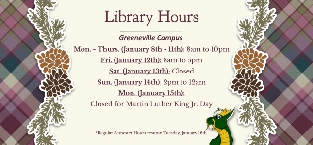 First Week of Classes Library Hours -Jan 2018