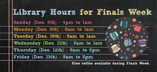 Library Hours Finals Week Fall 2019