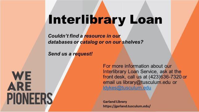 Interlibrary Loan Information