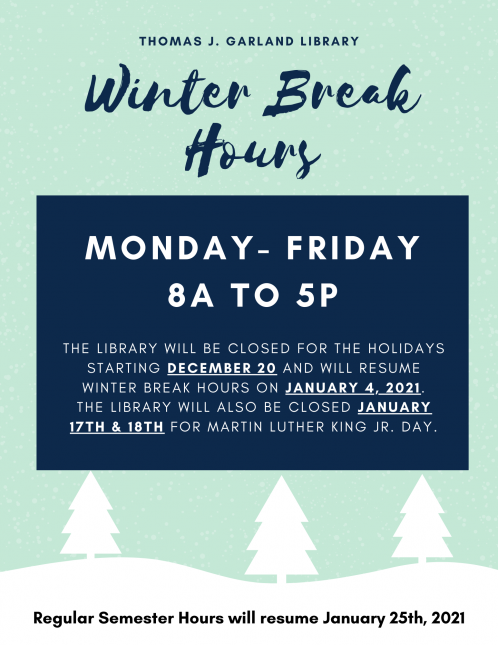 Library Winter Holiday Hours