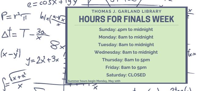 Finals Week hours 2021